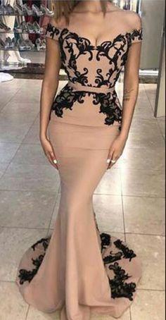 Mermaid Evening Dress, Arabic Evening Dress, Black Applique #prom #promdress #dress #eveningdress #evening #fashion #love #shopping #art #dress #women #mermaid #SEXY #SexyGirl #PromDresses