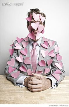 Businessman Office Worker Covered in Sticky Note Pink Hearts