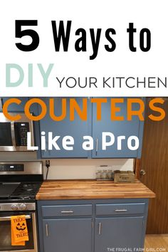 5 DIY Ways to Get New Countertops for Cheap Here are five easy ideas to update your old kitchen counters with a fresh new look. The countertop ideas in this post will not break the budget. You can see our complete kitchen makeover too. Cheap Kitchen Makeover, Kitchen On A Budget, Diy On A Budget, Kitchen Makeovers, Kitchen Renovations, Cheap Kitchen Updates, Budget Kitchen Remodel, Budget Plan, Diy Kitchen Decor