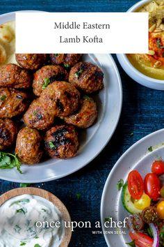 Middle Eastern Lamb Kofta — bake 12 minutes at broil 2 minutes Lamb Recipes, Meat Recipes, Food Processor Recipes, Dinner Recipes, Cooking Recipes, Jewish Recipes, Middle Eastern Recipes, Middle Eastern Food, Stuffed Hot Peppers