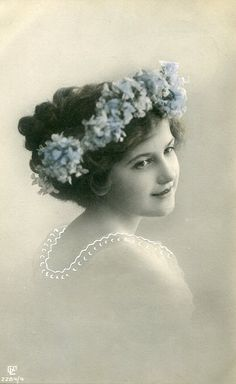 Vintage French hand tinted photo postcard - Lady with flower wreath - Victorian Paper Ephemera
