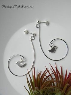 Swirly Silver Wire with Birds