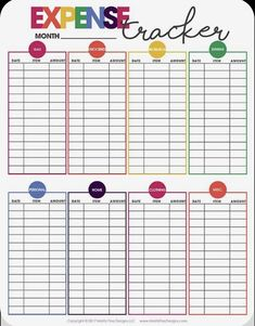 Expense Tracker Free Printable Get Your Budget In Order Monthly Organization Weekly Spending Printable Calendar 2020, Printable Planner, Free Printables, Monthly Budget Printable, Blank Calendar, Budget Binder, Budget Planner, Budget Spreadsheet, Organisation Administrative