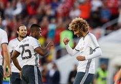 Marouane Fellaini of Manchester United celebrates after scoring during the preseason Friendly between Manchester United and…