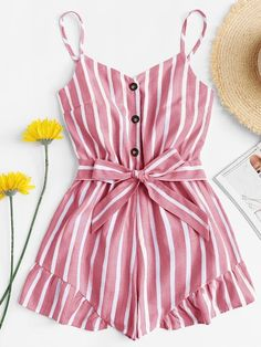 Shop Self Tie Waist Striped Jumpsuit online. SheIn offers Self Tie Waist Striped. - Shop Self Tie Waist Striped Jumpsuit online. SheIn offers Self Tie Waist Striped Jumpsuit & more to fit your fashionable needs. Cute Summer Outfits, Girly Outfits, Spring Outfits, Trendy Outfits, Cute Outfits, Cowgirl Outfits, Teen Fashion, Fashion Outfits, Womens Fashion