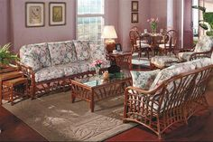 New Kauai Living Room 5 Pc Set Pecan Stain Model 1600 From South Sea Rattan Man Wicker And Furniture