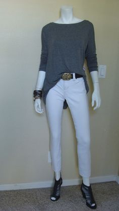 Daily Look: CAbi Fall 13 Bateau Neck Tee and Signature Belt with vintage White Bree Jean.