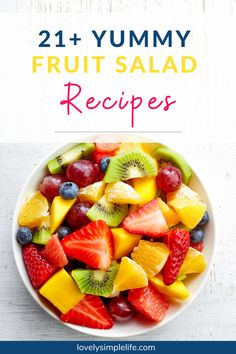 Looking for a deliciois and refreshing salad for this summer? Check out his list of over 20 delicious fruit salad recipes that go great at summer potlucks or parties. #fruitsalad #fruit #summersalad