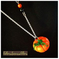 #Polymerclay #Pumpkin #Pendant #Halloween - #Zucca in #Fimo #Collana