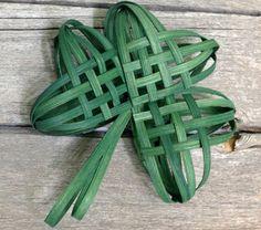Woven Shamrock Ornament lucky clover good luck of the Irish green