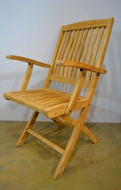 Teak Patio Folding Chair with Arms