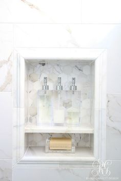 Glam Transitional Guest Bathroom Reveal – with Marble Silver and Brass Glam Transitional Guest Bathroom Reveal – with Marble Silver and Brass – tour a bathroom remodel project with all the sources to create your own glam room - Marble Bathroom Dreams Bathroom Niche, Shower Niche, Diy Bathroom Remodel, Bathroom Renos, Bath Remodel, Bathroom Renovations, Master Bathroom, Brass Bathroom, Marble Bathrooms