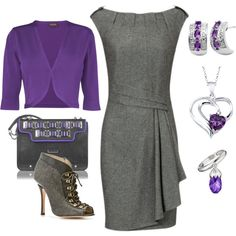 """""""Woman In The Gray Flannel Dress"""" by bethherrmann on Polyvore"""