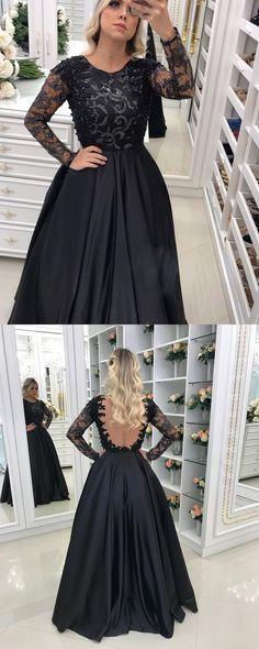 Backless Black Evening Dress, Stain Long Sleeves Prom Dress, Lace Long Party Dress #promdress #promgown #prom #dress #gown #longpromdress #simplepromgown #charmingpartydress #eleganteveningdress #promdress #blackpromgown #RosyProm