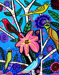 Pretty bird, folk art paintings | Folk Art PaintingBy Heather Galler