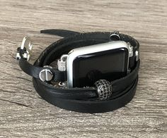 Black Leather Bracelet for Apple Watch iWatch Band Adjustable Apple Watch Band Leather iWatch Bracelet Women iWatch Jewelry Strap Black Apple Watch Band, Apple Watch Bands 42mm, Apple Watch Leather Strap, Black Leather Bracelet, Watches, Bracelets, Jewelry, Women, Jewlery