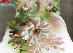 Blooming White Flower Print Pastoral 4-Piece Duvet Cover Sets