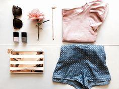 Summer essentials by Tatyana Kurbatoff - tencel shorts and pink t-shirt wiht angel sleeves Angel Sleeve, Summer Essentials, Beautiful Things, Shorts, Creative, Sleeves, Pink, T Shirt, Rose
