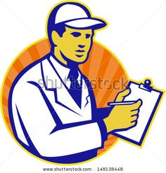 Illustration of a technician tradesman inspector worker at work writing on clipboard with pen set inside circle done in retro style. - stock vector #inspector #retro #illustration