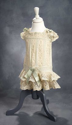 """What Finespun Threads"" - Antique Doll Costumes, 1840-1925 - March 12, 2017: 106 Guipure Lace Dress with Drop-Waist and Aqua Silk Ribbons"