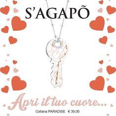 Apri il tuo cuore!!! Collana S'Agapõ :prezzo 39 euro da scontare  #sagapo #solodaenricotessitoregioielli by gioiellienricotessitore