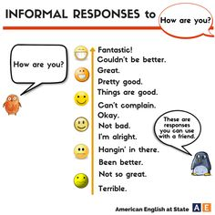 Informal responses to HOW ARE YOU?