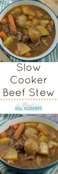 Not the greatest - too much/bold of a flavor. Yummy and really easy slow cooker beef stew! I'll be eating this all fall and winter thank you very much! Crock Pot Food, Crockpot Dishes, Crock Pot Slow Cooker, Beef Dishes, Slow Cooker Recipes, Crockpot Recipes, Soup Recipes, Cooking Recipes, Fall Recipes