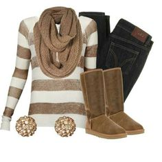 cute winter outfit for school love the brown!