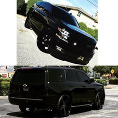 """Murdered Tahoe on 28"""" @stradawheels with the escalade taillights. @perez_filibert #28s #tahoe #chevy #stradawheels #stradaornada #murdered #murderedout #bombwhips"""