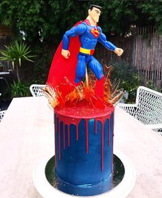Superman Cakes, Superhero Cake, Cake Business, Drip Cakes, Cakes For Boys, Baking, Birthday Cakes, Fondant, Party