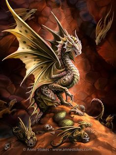 Fantasy Greeting Card - Age Of Dragons - Desert Dragon by Anne Stokes ✓ Fast Delivery ✓ Buy now cheap at www. Tribal Dragon Tattoos, Dragon Tattoos For Men, Dragon Tattoo Designs, Dragon Age, Anne Stokes Dragon, Fake Tattoo, Tattoo Ink, Small Tattoos, Sleeve Tattoos