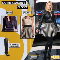Dress: Guess Fit-and-Flare Striped Dress - $138 Similar Jacket: Cropped Zipper Leatherette - $98 Similar Boot: Chinese Laundry Platform Over The Knee Boots - $275 Chelsea Lately, Chinese Laundry, Get The Look, Over The Knee Boots, Striped Dress, Fit And Flare, Carry On, Foxes, Actresses