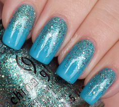 blue glitter Sparitual Ebb & Flow, CHG Optical Illusion http://www.lucysstash.com/2012/03/gradient-manicure-with-sparitual-ebb.html