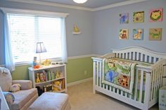 Babys Nursery, Animals and soft blue and greens make this nursery a perfect spot for baby.  Framed with white furniture chair rails and crow...