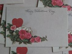 10 Happy Valentine's Day Vintage Florist Insert Cards, Tiny Tags for Crafting and Use as gift tags and such.