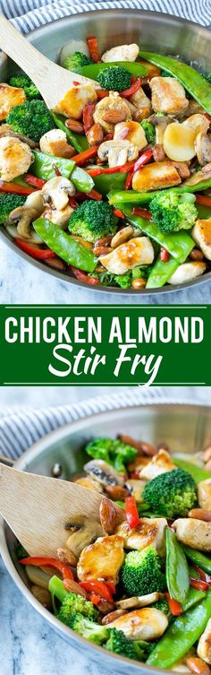 This recipe for chicken almond ding is a stir fry full of chicken, veggies and crunchy almonds, all tossed in a savory sauce. The perfect healthy dinner that's ready in a flash!