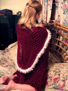 Crimson Moonlight Renaissance Medieval Hooded Shawl Crochet Pattern. $7.99, via Etsy.