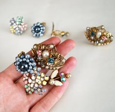 Grandma's Best Clip On Earrings, Collection of 4 Pairs