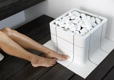 A great piece of product design from Eastern Finland, the all white Nuoska sauna stove.