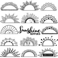 You are my Sunshine! Hand Drawn Sunshine Label ClipArt, Frames, and Round Border Line Art in Black and White. These make great page tab markers & book marks for flipping through art and bullet journals. Transparent and white fill versions included. Sun Doodles, Simple Doodles, Flower Doodles, Doodle Flowers, How To Doodles, Doodles Zentangles, Doodling Art, Draw Flowers, How To Draw Doodle