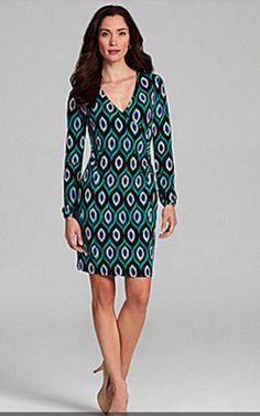 Printed Faux Wrap Dress by Jones NY