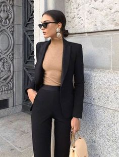 30 best sophisticated work attire and office outfits for women to look stylish and chic 27 ~ Litledress Office Outfits, Mode Outfits, Casual Outfits, Fashion Outfits, Office Attire, Fall Outfits, Formal Outfits, Chic Black Outfits, Fashion Ideas