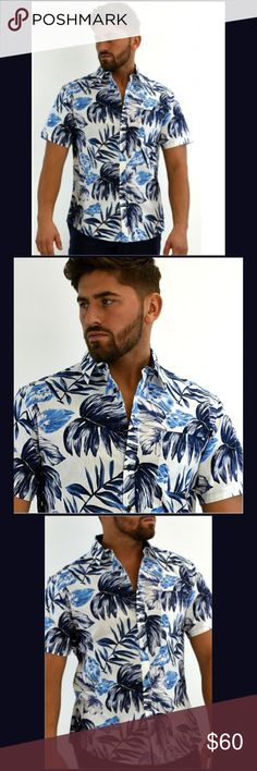 Men's Bohio Linen Tropical Short Sleeve Shirt Hawaiian/tropic prints are totally in this year, and this navy print short sleeve shirt will help you to make a fashionable statement. It is made of a 55% linen/45% cellulose blend, which is lighter and less wrinkly than 100% linen, yet still gives you the linen look and feel.  All boutique items are brand new and have been hand selected for value and quality.  From a smoke-free and happy-to-bundle boutique.  No trades or transactions outside of…