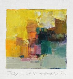 July 11, 2014 - Original Abstract Oil Painting - 9x9 painting (9 x 9 cm - app. 4 x 4 inch) with 8 x 10 inch mat