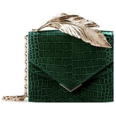 Ralph & Russo Alina Alligator Feather Clutch (98.980.810 IDR) ❤ liked on Polyvore featuring bags, handbags, clutches, structured handbags, alligator handbags, green purse, green handbags and green clutches