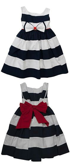 The official home of Biscotti and Kate Mack, who've been making exquisite girls' designer clothing since Their designs are imaginative, and timeless. Set Sail, Red Accents, Spring 2014, Biscotti, Poplin, Striped Dress, Baby Dress, Navy And White, Cheer Skirts
