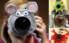Crocheted Toys Attached To The Camera Lens | HGTV Decor