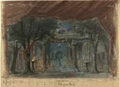 "Set design (1895), by Philippe Chaperon (1823-1906), for Act 2 of ""Salammbô"" (1890), by Ernest Reyer [born Ernest Rey] (1823-1909)."