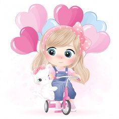 Hand Drawn Cute Girl And Kitty Character Cute Cartoon Images, Cute Cartoon Girl, Cute Cartoon Wallpapers, Cute Images, Cute Pictures, Boat Cartoon, Cartoon Art, Cute Girl Wallpaper, Disney Wallpaper