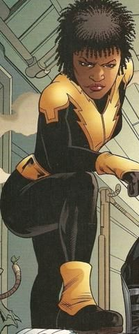 16.) Thunder    The Daughter of Black Lightning, (D.C.) She struck a deal with her father, she wouldn't fight Crime until She graduated College. She Has Teamed up with Red Arrow,  and the outsiders. She first appeared in 2003. Her powers consist of Density Manipulation....*and perfecting the ultimate twistout apparently* lol!
